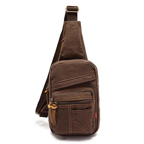 Herren Freizeittasche, Retro- Umhängetasche / Messenger Tasche oder als Brusttasche / Brustbeutel, perfekt Geschenke für Männer, Tagetasche - Khaki Kaffee