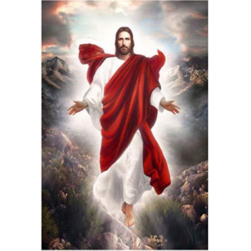 Leezeshaw 5D DIY Diamant Gemälde nach Zahlen Kits berühmte Strass-Stickerei Gemälde Bilder für Home Decor - Jesus kehrt (30 x 40 cm) Frameless Jesus Returns -