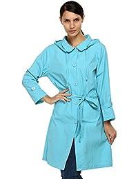 ACEVOG mujer Packable Front botón chubasquero con capucha chaqueta impermeable viento Rain Coat