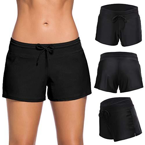 WEVIAS Damen Sport-Badeanzug unten Seite Split Shorts Bikini Tankinis Schwimmen Strand Board Bademode Shorts Panty Liner - schwarz - Medium -