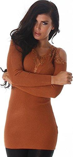 Voyelles - Pull de sport - Uni - Manches Longues - Femme brun de cuivre