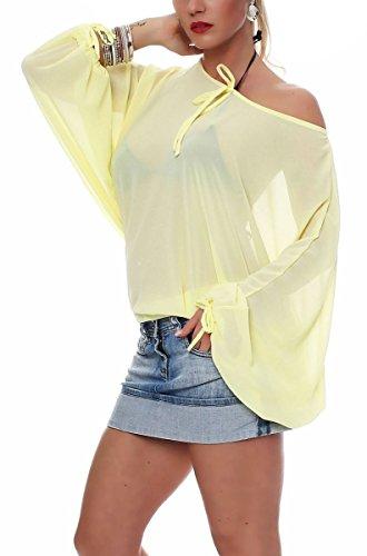 Malito Damen Bluse in Vielen Farben und Formen | Oberteile mit Verschiedenen Mustern �?Shirts 7213 gelb-Einfarbig