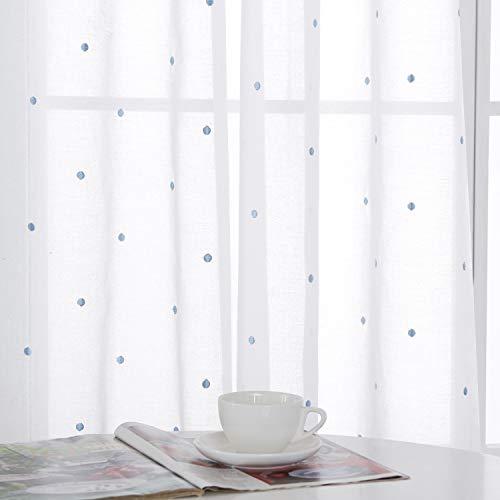 Deconovo Tende Camera da Letto Trasparenti Ricamate Cerchi Celeste in Voile con Occhielli per Casa Moderne 140x175 CM Bianco 2 Pannelli