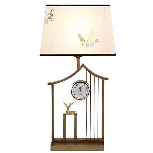BeiMi Kreative Tischlampe-New Chinese Antique Kreative Tischlampe-Kleidung Lampenschirm-Aufenthalt mit Wanduhr Lampe Nachttischlampe Wohnzimmer Schlafzimmer Villa Office Hotel -