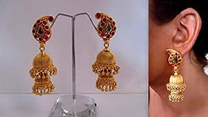 Beautiful Traditional Temple Lakshmi Gold Design Earring Jhumka Buy Online At LittleFingers