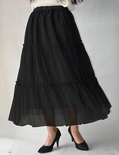 Relaxfeel Jupe longue en taffetas à manches longues pour femme Noir