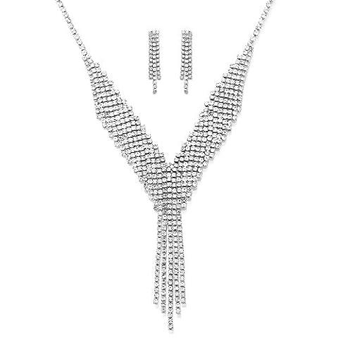 Ensembles de bijoux pour femmes MANBARA Collier à perles longues et strass et pendentifs Boucles d'oreilles Ensembles de bijoux de mariage (couleur argent)