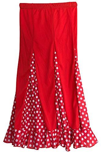 La Señorita Flamenco Rock Kinder Spanische Kleider rot mit weißen Punkten (Größe 8, 116-122, Länge 65 cm)