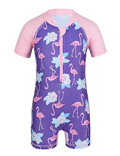 ranrann Kleinkinder Badebekleidung Einteiler mit UV-Schutz Baby Mädchen Kurzarm Badeanzug Sommer Bademode Schwimmanzug 68 74 80 86 92 Lavendel 86-92/18-24 Monate - Kleinkinder-badebekleidung