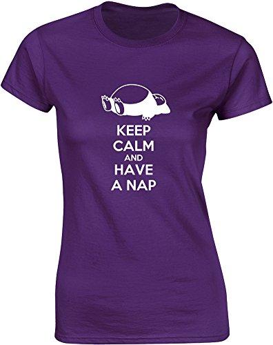 Brand88 - Brand88 - Keep Calm and Have a Nap, Gedruckt Frauen T-Shirt Lila/Weiß