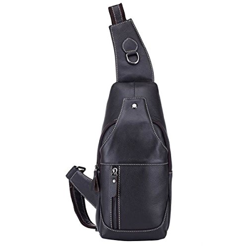 Herren Retro Leder Schultertasche Messenger Bag,Black Black