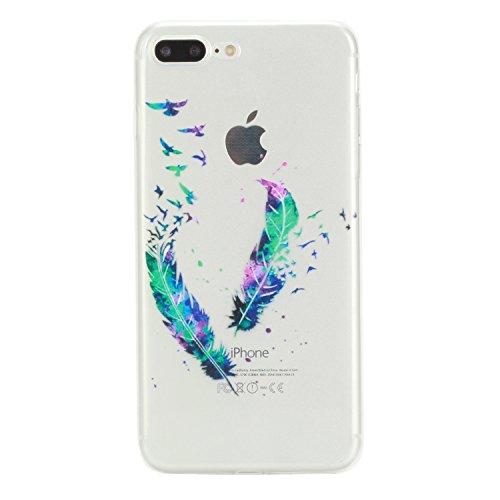 iPhone 7 Hülle Durchsichtig, LuckyW TPU Handyhülle für Apple iPhone 7 7S(4.7 zoll) Soft Silikon Tasche Transparent Schale Clear Klar Hanytasche Durchsichtig Rückschale Ultra Slim Thin Dünne Schutzhüll Feder