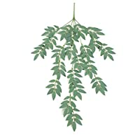 19Kenbeton Twig Wall Artificial Vine Fake Plant Romantic Style Real Touch Garland Wedding Festival Party Bedroom Garden and Other Occasions Decoration - Grey White