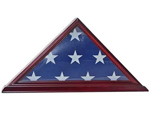 6' - Box (TANGGOOD 4 'X 6' Flaggenvitrine Flaggenaufbewahrung Shadow Box Frame (Nicht für Bestattungsgröße), Massivholz, Kirschrot)