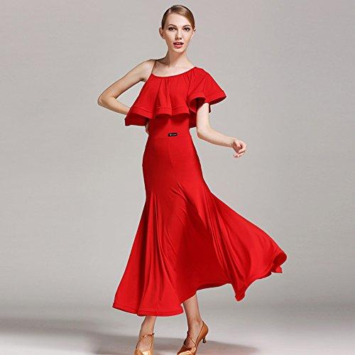Pendel Lotus Leaf Ballroom Dance Kleid Modern Dance Dress Tango und Walzer Tanz Kleid Tanzwettbewerb Rock Strap Dress Dance Kostüm,Red,M (Swing Ballroom Tanz Kostüme)