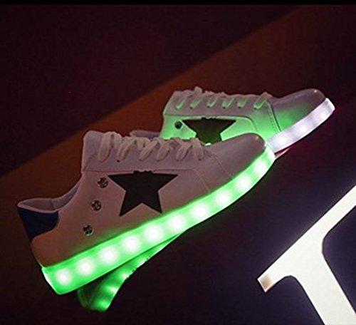 [Present:kleines Handtuch]JUNGLEST® Unisex Frauen Männer USB Lade LED leuchten Glow Schuhe Luminous American Star Flagge Freizeitschuhe c37