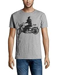 T.shirt JAPAN RAGS.HROAD0MC.0236. gris foncé chiné et noir motif fantaisie
