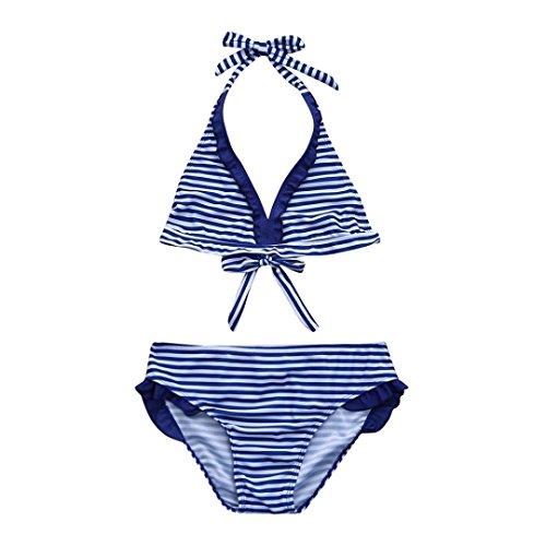 Baby Bademode,Binggong Säugling Kinder Mädchen Lace Striped Rüschen Bademode Bade Bikini Set Outfits Mädchen Zweiteiler Badeanzug Teenager Spitze Schwimmanzug Tankini Set (128CM, Blau)