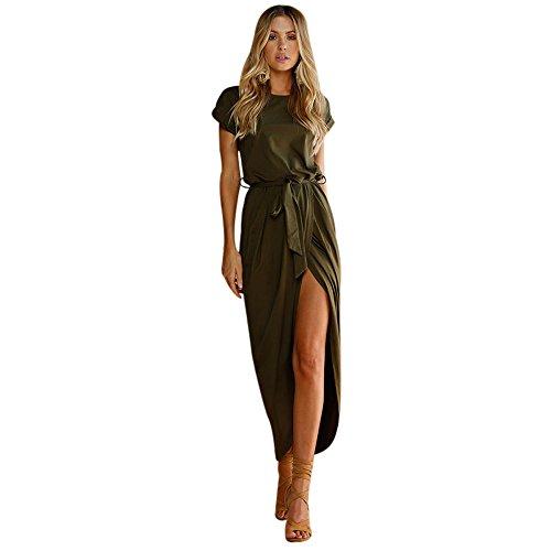 TianWlio Sommerkleider Damen Boho Langes Maxikleid Abend Party Strandkleider Sommerkleid Armeegrün S 3/4 Sleeve Faux Wrap