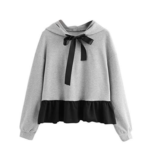 QinMM Damen Rüschen Langarm Hoodie Sweatshirt Pullover mit Kapuze Pullover Bow Bluse Sommer Herbst Outwear Grau S-2XL (L, Grau)