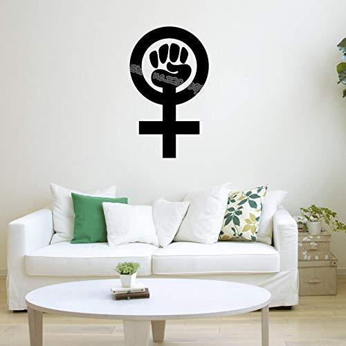 Símbolo feminista Etiqueta de la pared Movimiento feminista Signo Calcomanías de vinilo decoración Salón dormitorio oficina Papel pintado de graffiti E 56x93cm