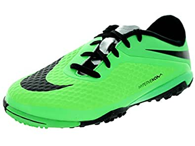NIKE Hypervenon Phelon TF Junior Football Boots, Green/Black, UK5.5