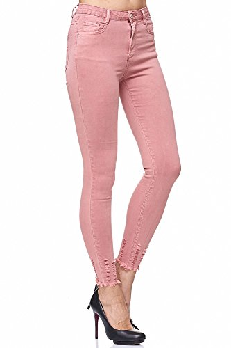 Elara Damen Jeans Hose stretch| High Waist | Skinny Röhrenjeans| Slim Fit | Hochschnitt |Chunkyrayan 5D134 Pink 34 (Rosa Stretch-jeans)