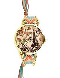 Mujer Reloj De Pulsera trenduhr eiffeltrum Paris Oldtimer Ethno Blogger Hipster Vintage plástico analógico de cuarzo oro/azul lw013