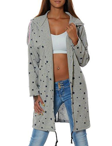 Damen Kapuzen-Pullover Sweatshirt-Jacke Hoodie Mantel (weitere Farben) No 15714, Farbe:Grau, Größe:One Size
