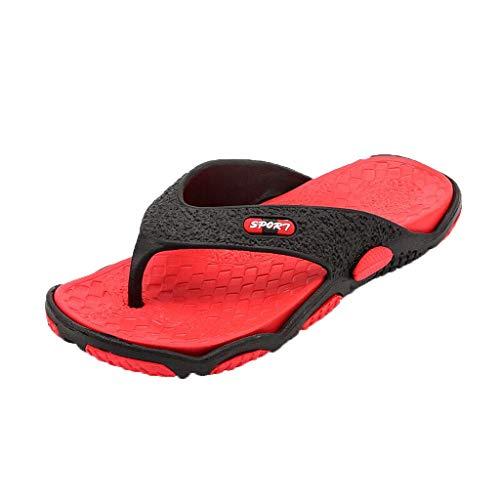 Xmiral Infradito Pantofole Uomo Primavera e L'Estate Marea trascinando Pantofole di Grandi Dimensioni da Uomo Moda Scarpe Spiaggia Casual Massaggio Infradito Bagno 44 EU Rosso