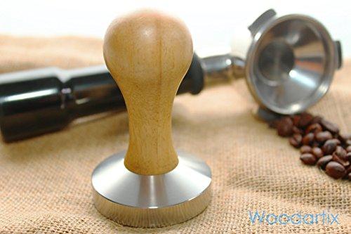 Espresso Tamper Premium Design verschiedene individuelle Größen nach Deiner Wahl – Klassischer Kaffeemehlpresser aus Edelstahl V2A und hochwertigem Echtholzgriff Eiche – Barista Tamper für den perfekten Kaffeegenuss (49 bis 58mm) Handgefertigt thumbnail