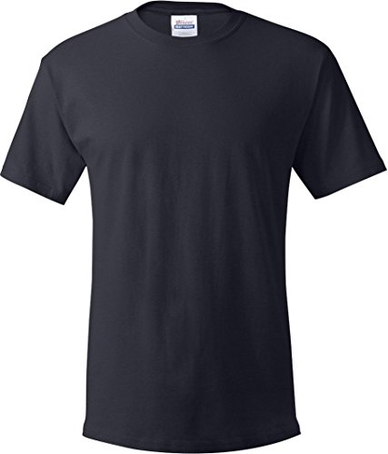 Hanes Mens Double-Needle Stitched Sleeves Cotton Tee Pack of 5 Navy