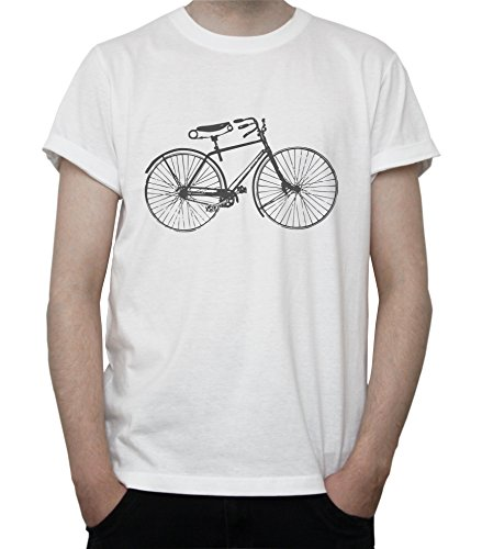 Vintage Bicycle Black & White Art Graphic Mens T-Shirt Blanc