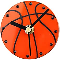 Reloj de pared redondo de succión magnética Campana de refrigerador - Baloncesto deportivo Amarillo - Materiales especiales y potentes imanes - 8.5cm , orange