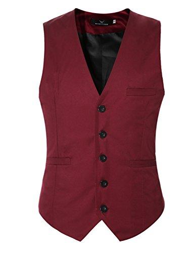 YCHENG Mode Herren Slim Fit Grund Fest Farbe Brautkleid Anzug Weste Blazer Rot 1