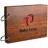 Electomania® Wood Pasted Photo Album Wooden Hand-Pasted Baby Couple Family Album Gift Box Photo Album Scrapbook Wooden Cover Gallery Birthday Gift (Brown)