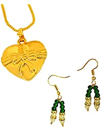 Surat Diamonds Heart & Bow Shaped Gold Plated Pendant And Green Colored Stone & Shell Pearl Earring Set For Women...