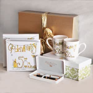 50th Golden Wedding Anniversary Gift Pack 4 Amazoncouk Kitchen Home