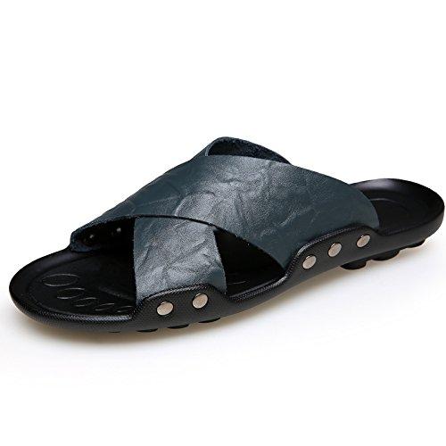 Xing Lin Sandales En Cuir Chaussures De Plage Sandales Hommes Local De Loisirs D'Été Le Vent Et Le Froid Et Deo-680234,40, Camouflage Noir Et Bleu