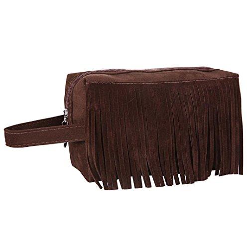 Janly Tragbare Reise-Kosmetiktasche-Troddel-Handtaschen-Verfassungs-Fall-Beutel-Toilettenartikel-Wäsche-Organisator (Braun) (Handtasche Drawstring Troddel)