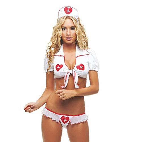Sammoson lingerie sexy da donna babydoll naughty nightingale costume da infermiera, donna per sesso uomo taglie hard natale forti aperto rete pizzo aperta rossa calze con reggicalze (bianca s)