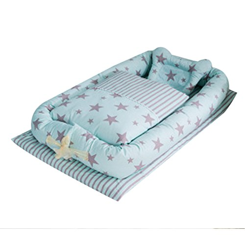 Babybett mit Quilt Abnehmbare Baby Isolierte Bett Neugeborene Baby Schlafsack Artefakt klappbar Bionic Bett mit eine Steppdecke (0–24Monate) (Set Liege Quilt)