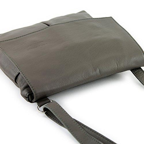 Sac à bandoulière italien Messenger sac à bandoulière femme cuir véritable T63 Umbragrau