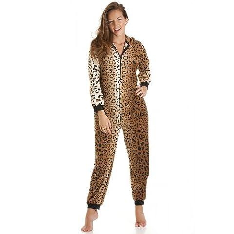 Combinaison pyjama en polaire - femme - imprimé léopard - doré - tailles 36-50 44/46