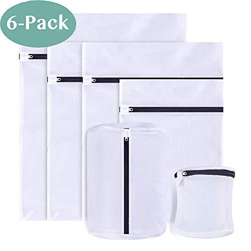 PaiTree 6 Stück Wäschenetz für Waschmaschine sowie Aufbewahrung, Wäschesack Baumwolle mit Formgedächtnis, Wäschebeutel aus Netzstoff Set mit Reißverschluss für empfindliche Wäsche