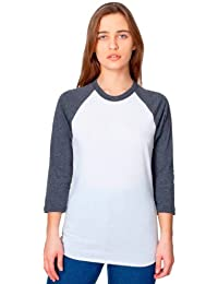American Apparel Unisex Poly-Cotton 3/4 Sleeve Raglan Shirt - White / Heather Black / L