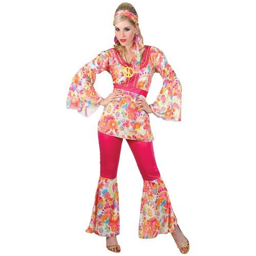 Honey Woodstock Kostüme (HIPPIE HONEY LADIES COSTUME FANCY DRESS UP)