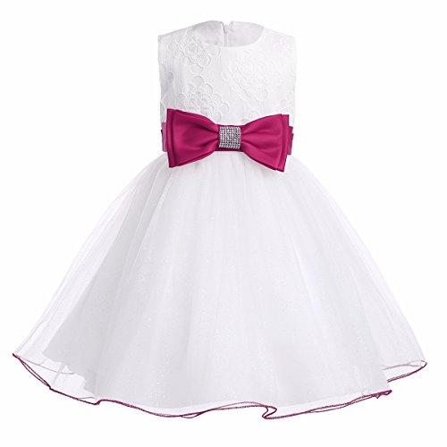 YiZYiF Baby Mädchen Kleid mit Schleife Taufkleid Blumenmädchen Prinzessin Hochzeit Festlich Kleid Weiß Tüll Festzug Kleidung Hot Pink 68-74 (Kleid Taufe)