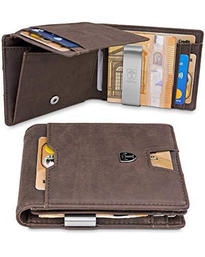Männer mit Geldklammer Cairo Geldbörse Portmonaise Herren Klein Slim Portemonnaie Wallet Geldtasche Portmonee RFID Kreditkartenetui Brieftasche Kartenetui Geldclip Mini Etui EC ()
