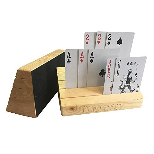 UMsky Wooden Spielkartenhalter / kartenhalter / Stand / Rack Set von Two, Natürliches Finish